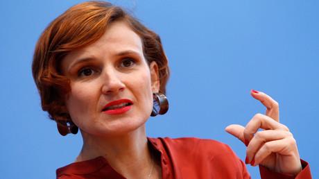 Archivbild: Katja Kipping bei der Pressekonferenz im Nachgang zur Landtagswahl in Bayern im Oktober 2018