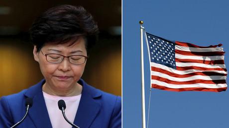 Hongkongs Regierungschefin Carrie Lam (l.); eine US-Flagge