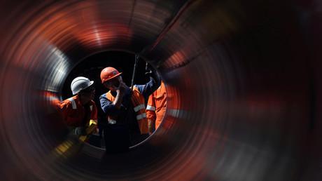 Arbeiten an der Pipeline Nord Stream 2 in Russland im Juni 2019.