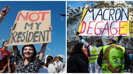 Proteste in Weißrussland (links) / Demontration von Gelbwesten in Frankreich (rechts)