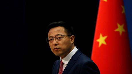Zhao Lijian, Sprecher des chinesischen Außenministeriums, während einer Pressekonferenz in Peking.