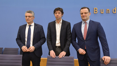 RKI-Präsident Lothar Wieler, der Virologe Christian Drosten und Bundesgesundheitsminister Jens Spahn im März 2020 in Berlin