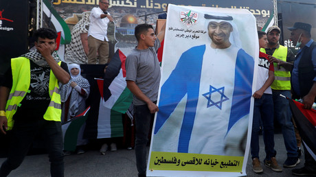 Palästinenser protestieren gegen Normalisierung der Beziehungen zu Israel.