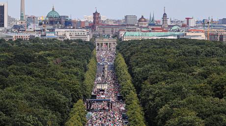 Die Demonstration gegen die Maßnahmen zur Corona-Bekämpfung am 1.8. in Berlin