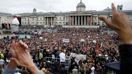 Aufnahme vom 29. August 2020: Tausende demonstrieren in London gegen die Corona-Maßnahmen.
