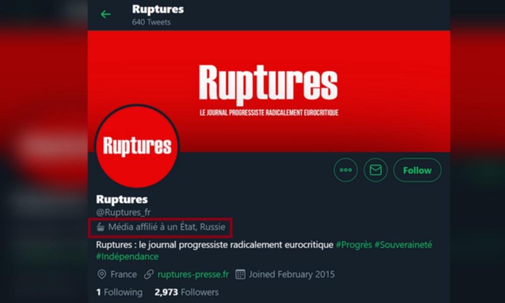 """Twitter erklärt französische Zeitschrift Ruptures ohne Beleg zu """"staatsnahes russisches Medium"""""""