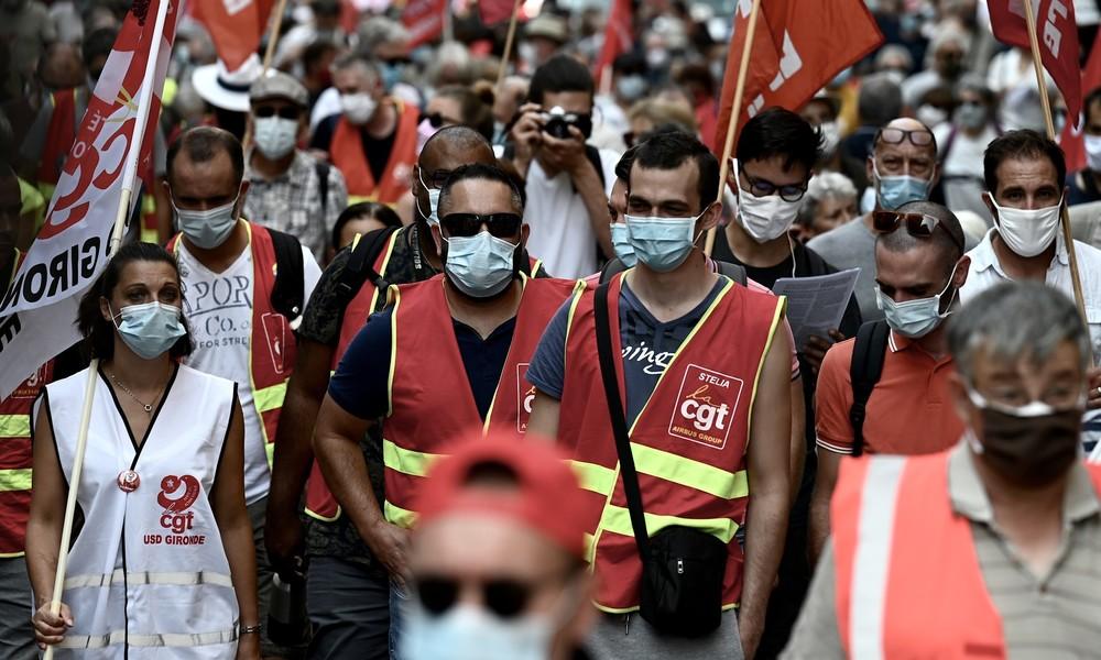 LIVE: Paris – Gewerkschaften demonstrieren gegen Corona-Hilfsplan der französischen Regierung