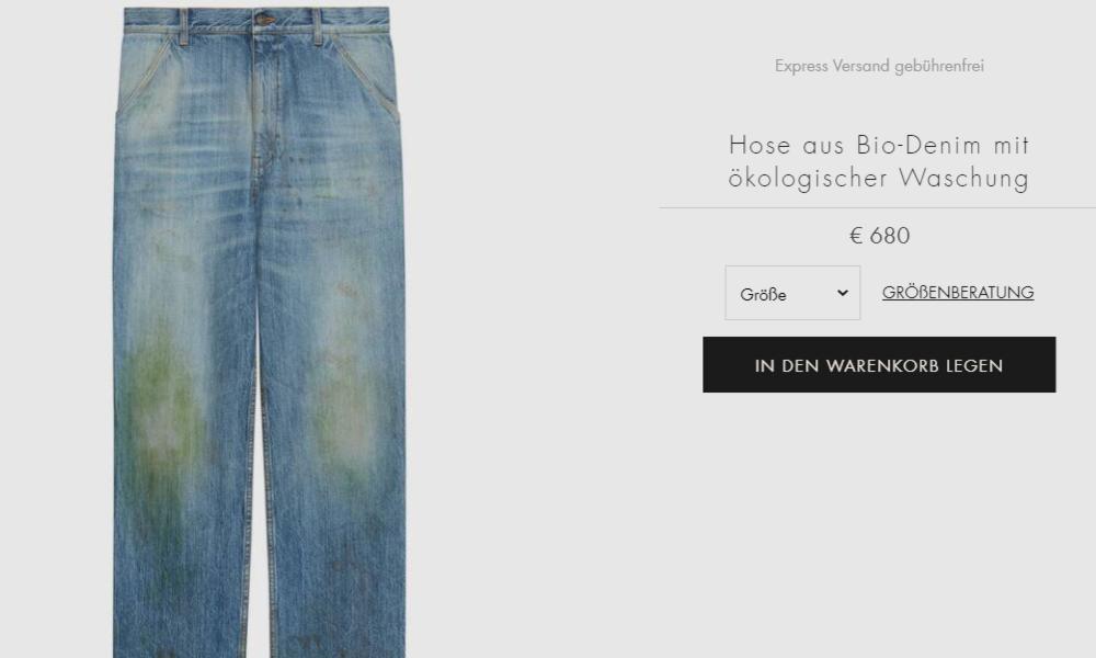 """Es grünt: Guccis """"Gärtner-Jeans"""" mit Grasflecken für knapp 700 Euro wird zum Lachobjekt auf Twitter"""