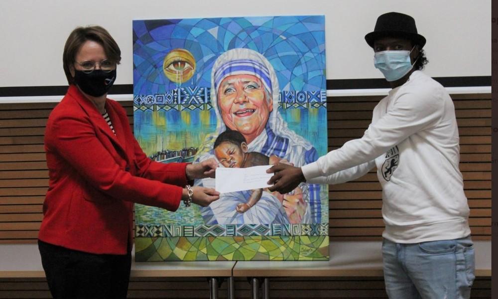 """Mama Merkel"": Eritreischer Künstler malt Bundeskanzlerin als Mutter Teresa"