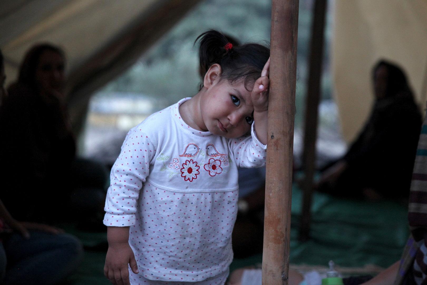 Ein Kind befindet sich im Flüchtlingslager Moria auf der Insel Lesbos.  5. August 2015.