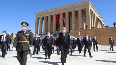Präsident Recep Tayyip Erdogan beim Besuch des Mausoleums von Atatürk am 30. August.