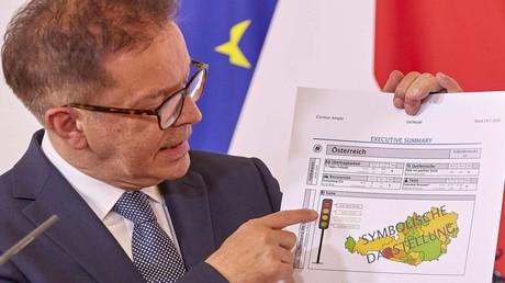 Wien, 29. Juli: Gesundheitsminister Rudolf Anschober präsentierte ein Muster, wie die Corona-Ampel aussehen wird
