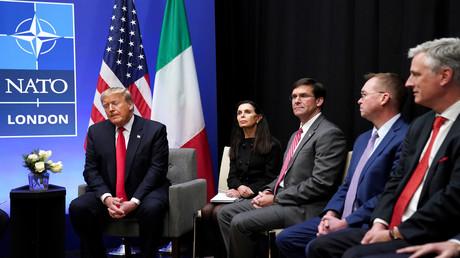 US-Präsident Donald Trump spricht auf dem NATO-Gipfel in Watford, Großbritannien. 4. Dezember 2019.