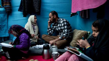 Afghanische Familie in einem Flüchtlingslager.