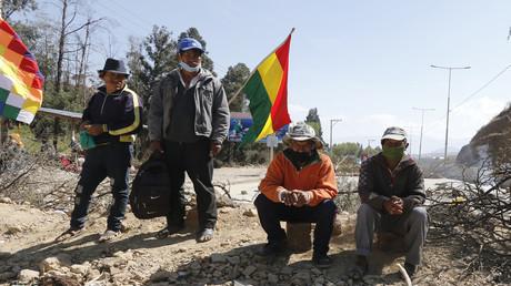 Proteste von Indigenen gegen die erneute Verschiebung des Wahltermins in Bolivien (August 2020).