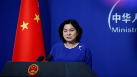 Die Sprecherin des chinesischen Außenministeriums, Hua Chunying, spricht auf einer Pressekonferenz in Peking.