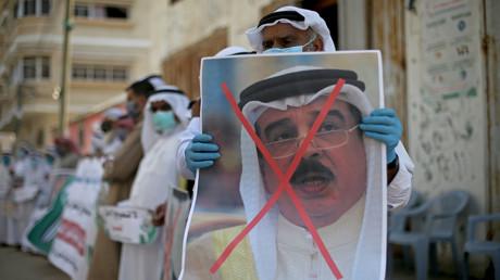 Palästinenser protestieren gegen Bahrains Vorstoß zur Normalisierung der Beziehungen zu Israel.