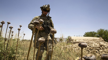 Ein US-Soldat auf Patrouille im Distrikt Zhari in der Provinz Kandahar, Afghanistan.