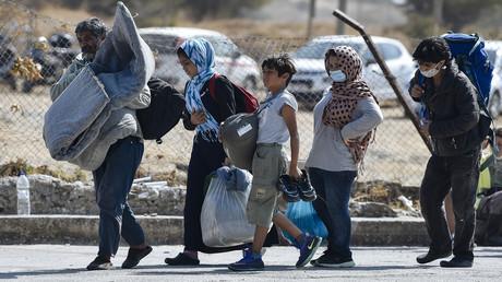 Flüchtlinge und Migranten aus dem zerstörten Moria auf Lesbos
