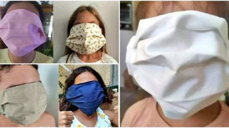 Gesicht zu klein oder Maske zu groß? Die griechische Regierung lieferte den Schulen bis zum ersten Schultag Masken falscher Größe. 14. September 2020