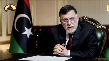 Der libysche Premierminister Fayiz as-Sarradsch während einer Fernsehansprache in Tripolis, Libyen, 16. September 2020