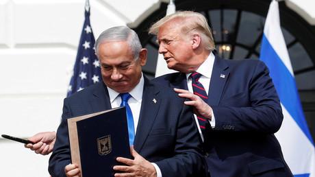US-Präsident Trump empfängt die Staats- und Regierungschefs zur feierlichen Unterzeichnung des Abraham-Abkommens im Weißen Haus in Washington. 15. September 2020.