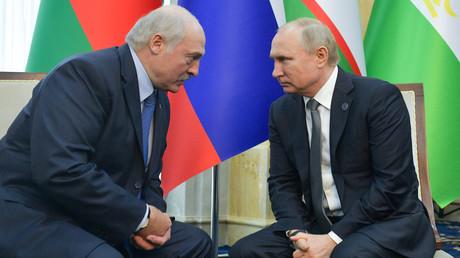 Der russische Präsident Wladimir Putin mit seinem Amtskollegen Alexander Lukaschenko am 14. Juni 2019 in Bischkek