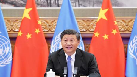 Der chinesische Präsident Xi Jinping bei einer Videokonferenz mit dem Generalsekretär der Vereinten Nationen (UN), António Guterres, in Peking am 23. September 2020.