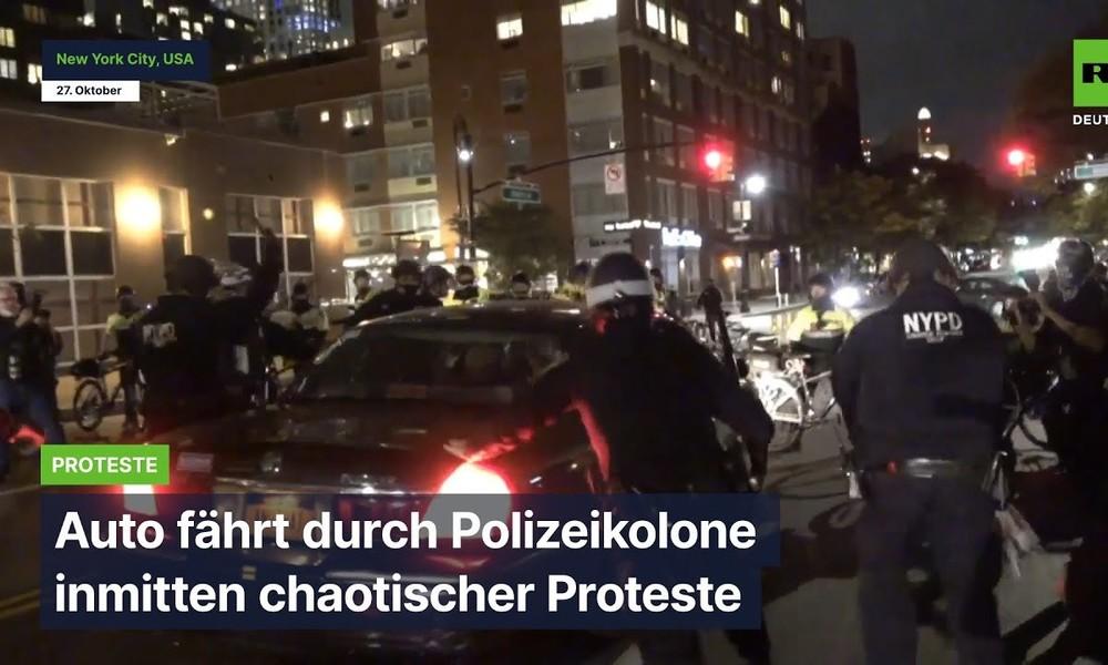 New York City: Auto fährt durch Polizeiabsperrung inmitten chaotischer Proteste