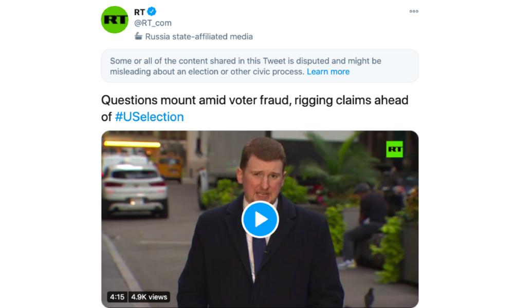 Twitter-Zensur: RT-Berichterstattung über US-Wahl als angeblich irreführend markiert