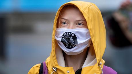 Die schwedische Klimaaktivistin Greta Thunberg am 9. Oktober 2020 bei einer Fridays for Future-Protestveranstaltung vor dem schwedischen Parlament Riksdagen in Stockholm.