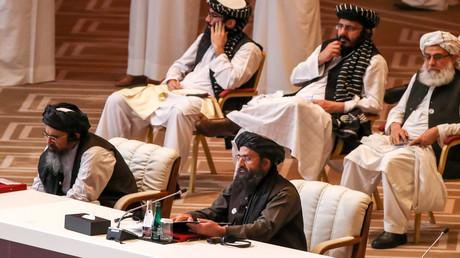 Führende Taliban-Vertreter bei den innerafghanischen Friedensgesprächen am 12. September in Doha, Katar.