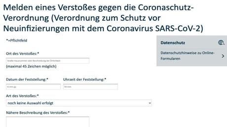Hochumstritten: Das Online-Formular zum Melden von