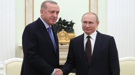 Der russische Präsident Wladimir Putin mit seinem türkischen Amtskollegen Recep Tayyip Erdoğan.