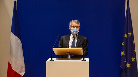 Der Staatsanwalt für Terrorismusbekämpfung Jean-François Ricard bei einer Pressekonferenz in Paris am 17. Oktober 2020. Am Vortag war ein Lehrer von einem Angreifer enthauptet worden, der von Polizisten in Conflans-Sainte-Honorine, 30 km nordwestlich von Paris, erschossen wurde.