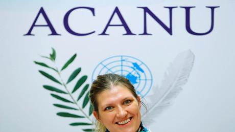 Beatrice Fihn, Generaldirektorin der Nobelpreisträger-Organisation International Campaign to Abolish Nuclear Weapons (ICAN), nimmt an einer Konferenz in Tokio, Japan, am 16. Januar 2018 teil.