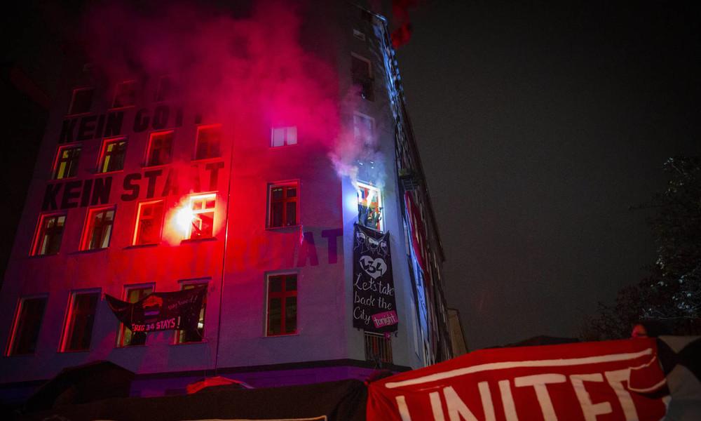 """Neue Ausschreitungen bei Demonstration mit 1.000 Teilnehmern gegen die Räumung von """"Liebig34"""""""
