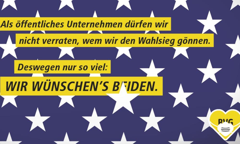 """""""Wir wünschen's beiden"""" – Berliner Verkehrsbetriebe werben vor US-Wahl für Joe Biden"""