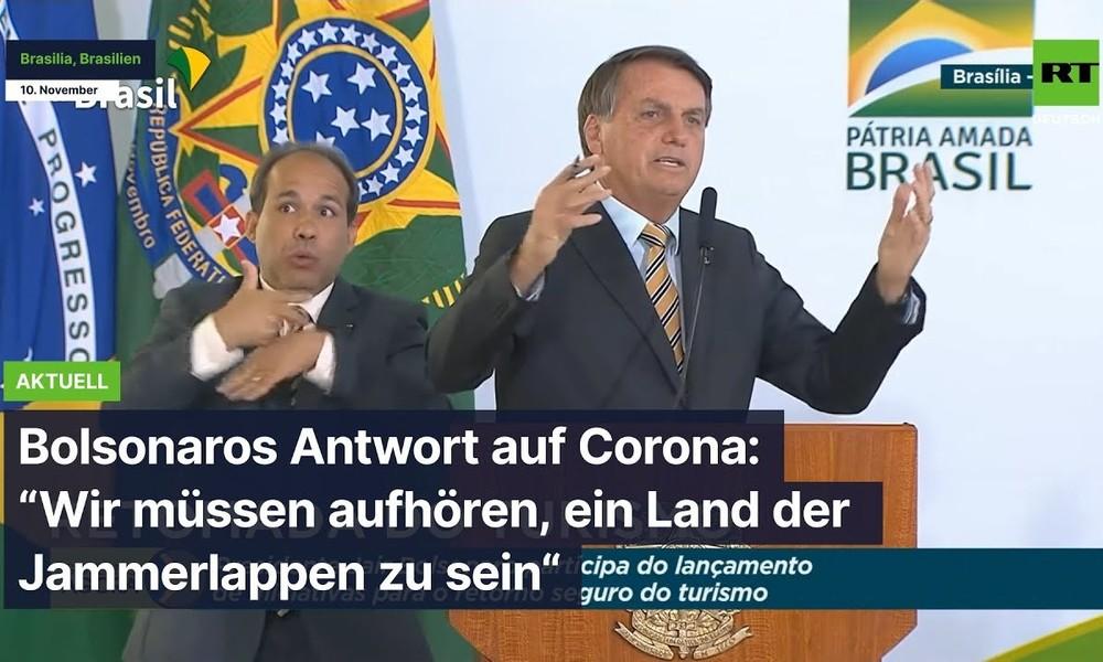 """Bolsonaro: """"Die Pandemie wurde überbewertet, wir müssen aufhören, ein Land der Jammerlappen zu sein"""""""