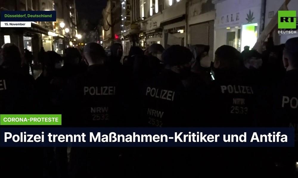 Düsseldorf: Polizei trennt Maßnahmen-Kritiker und Antifa