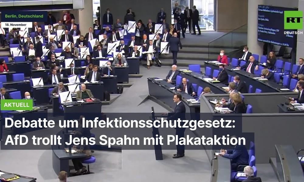 Debatte um Infektionsschutzgesetz: AfD trollt Jens Spahn mit Plakataktion