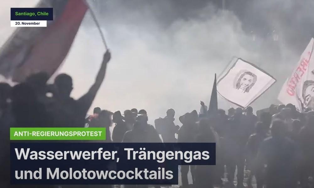 Santiago de Chile: Wasserwerfer, Tränengas und Molotowcocktails bei Anti-Regierungsprotest