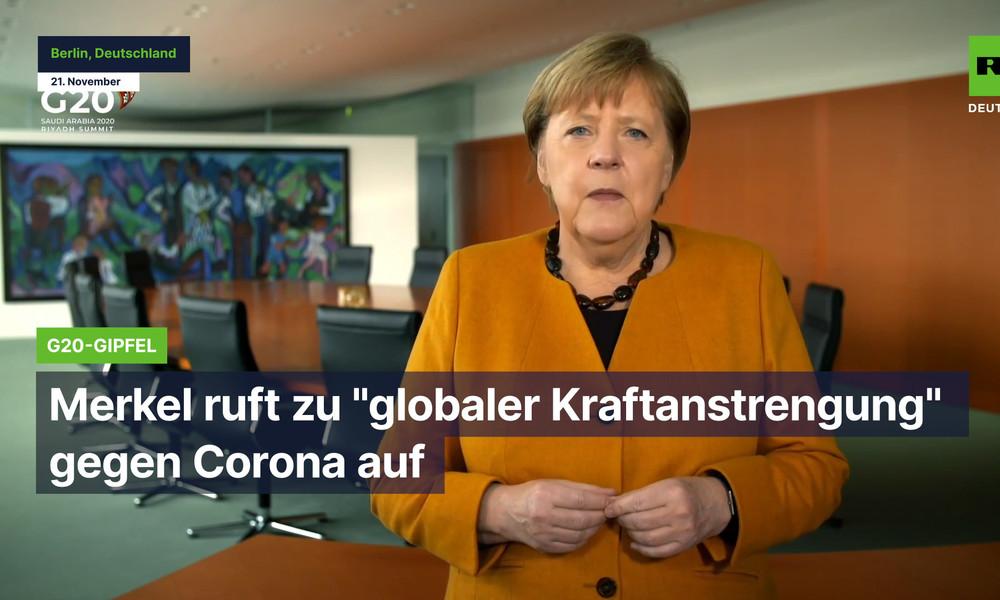 "G20-Gipfel: Merkel ruft zu ""globaler Kraftanstrengung"" gegen Corona auf"