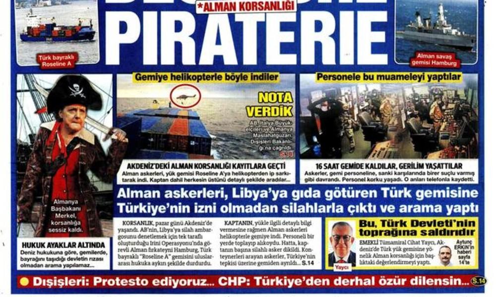 Karikatur nach Schiffskontrolle: Türkische Zeitung bildet Angela Merkel als Piratin ab