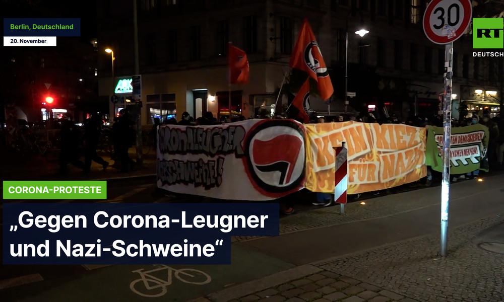 """Berlin: Antifa protestiert """"gegen Corona-Leugner und Nazi-Schweine"""""""