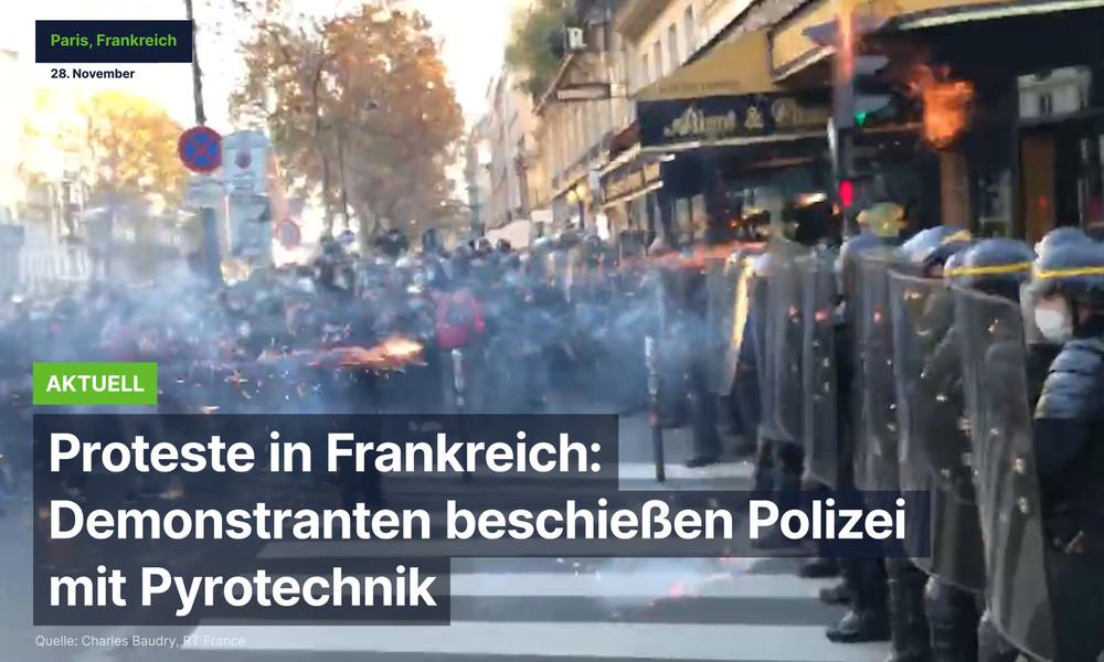 Proteste in Frankreich eskalieren: Demonstranten beschießen Polizei mit Pyrotechnik