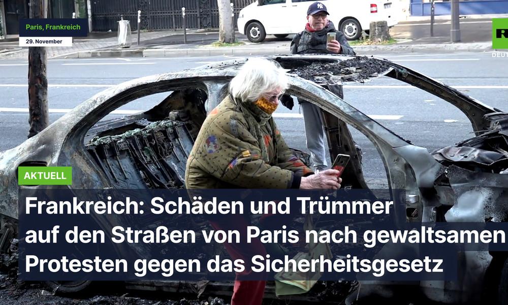 Frankreich: Schäden auf den Straßen von Paris nach gewaltsamen Protesten gegen das Sicherheitsgesetz