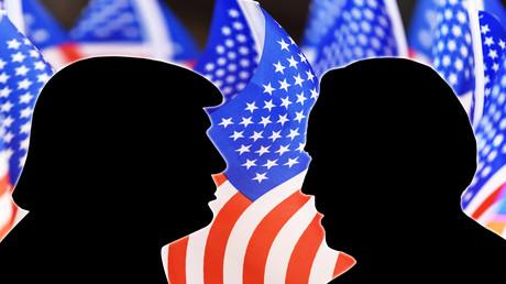 Symbolbild: Die Konterfeis von US-Präsident Donald Trump und seinem Herausforderer Joe Biden.
