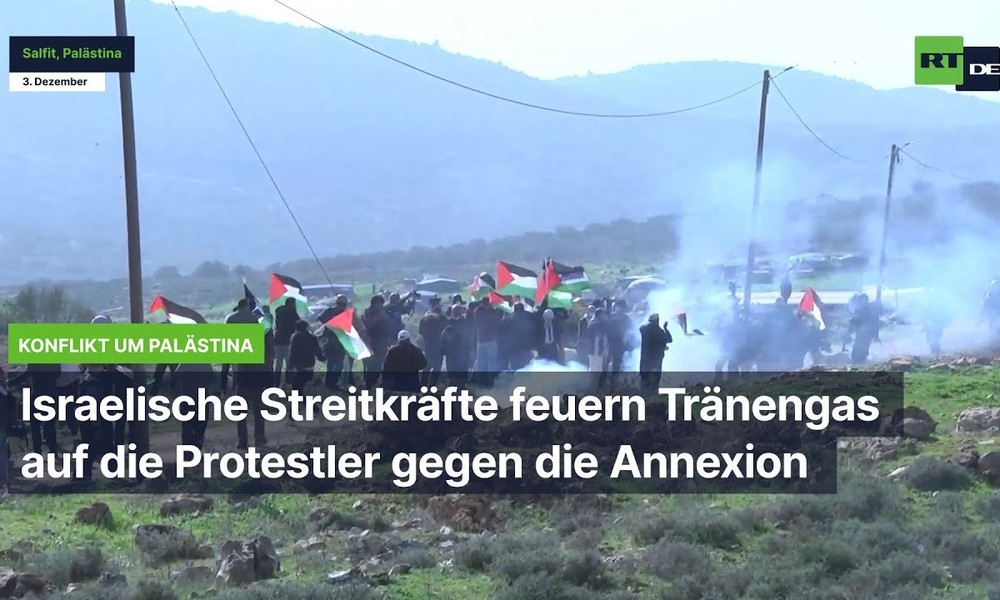 Israelische Streitkräfte feuern Tränengas auf Protestler gegen die Annexion