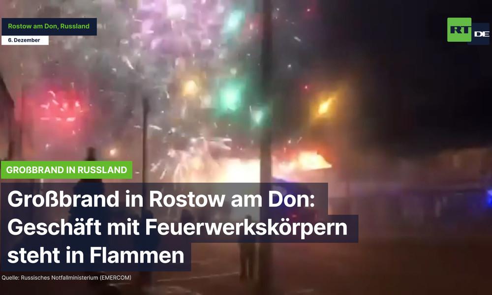 Großbrand in Rostow am Don: Geschäft mit Feuerwerkskörpern steht in Flammen